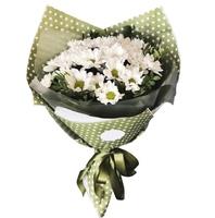 букет с кустовой хризантемой и зеленью